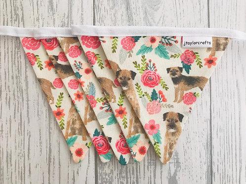 Border Terrier Floral Vintage Bunting