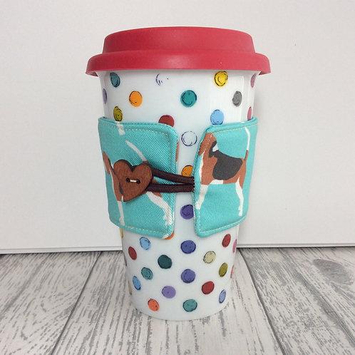 Blue Beagle Print Cup Cozy