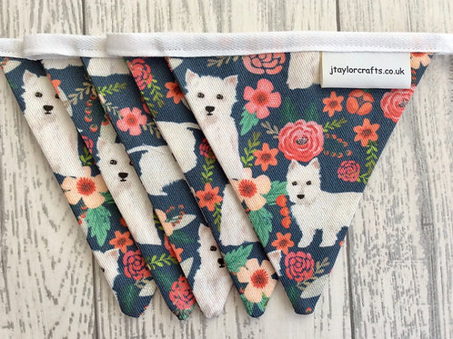 Westie Blue Floral Mini Bunting