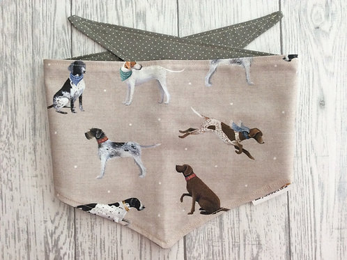 Pointer Dog Reversible Tie Bandana