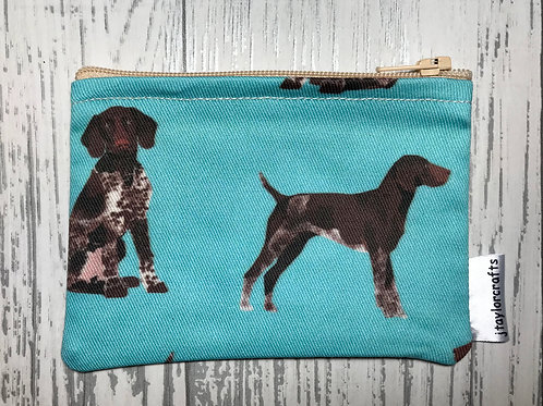 Blue German Shorthaired Pointer Fabric Coin Purse