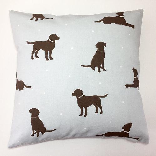 Duck Egg Blue & Chocolate Labrador Cushion Cover