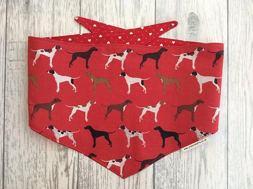 Red  Pointer Dog Reversible Tie Bandana