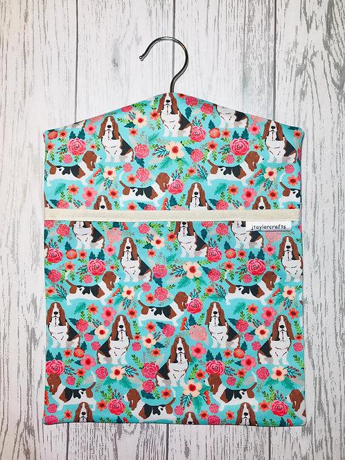 Basset Floral Dog Peg Bag