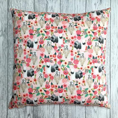 Pink Tibetan Terrier Floral Cushion Cover
