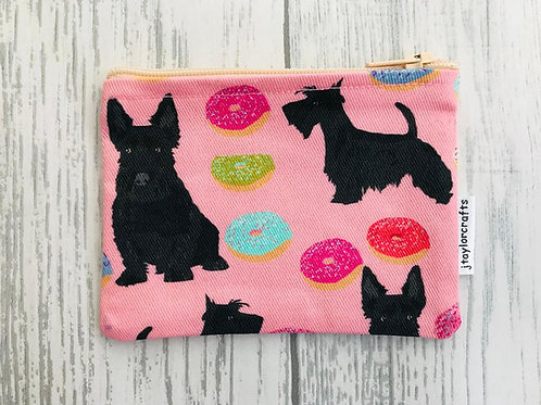 Scottish Terrier Pink Fabric Coin Purse