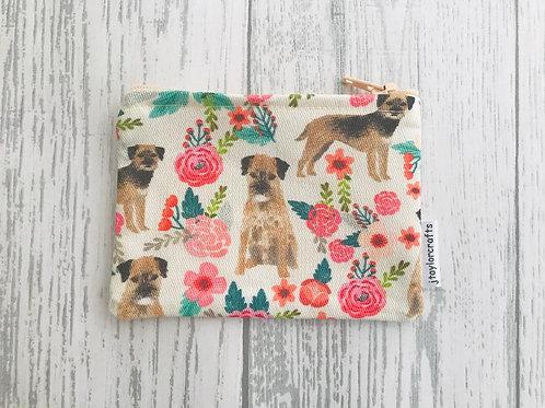 Border Terrier Floral Dog Fabric Coin Purse