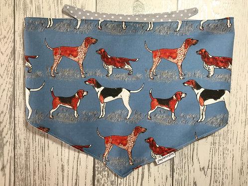 Blue Hound Dog Reversible Tie Bandana