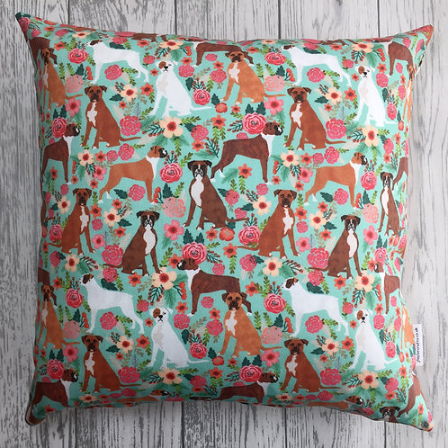 Boxer Dog Floral Print Cushion Cover