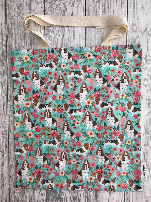 Floral Basset Hound - Bag for Life
