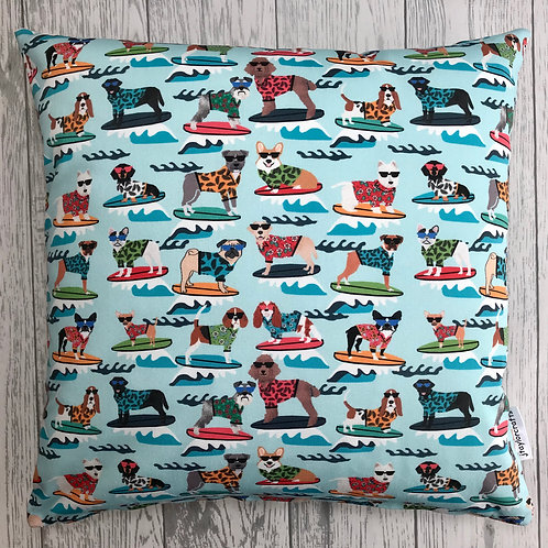 Blue Surfing Dogs Cushion Cover