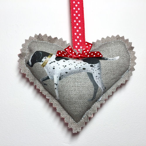Vintage Pointer Fabric Decorative Heart