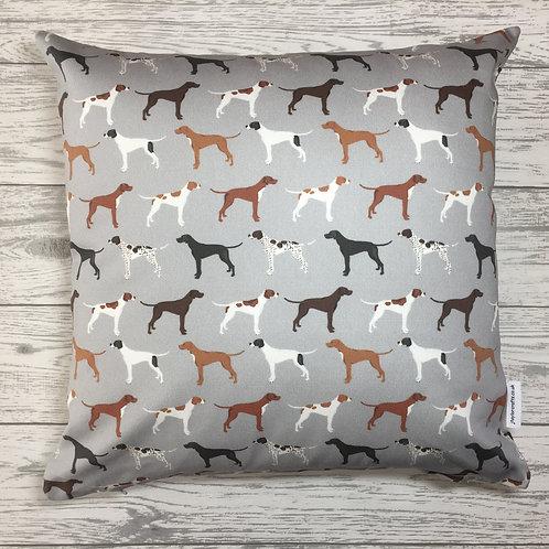 Grey Pointer Dog Print Cushion Cover