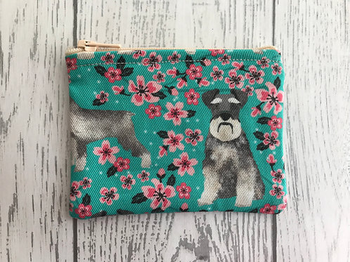 Schnauzer Floral Fabric Coin Purse