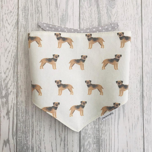 Border Terrier Cream Dog Reversible Tie Bandana
