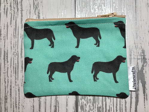 Black Labrador Green Fabric Coin Purse