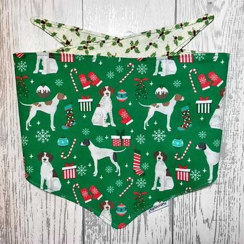 Green Pointer Christmas Reversible Tie Bandana