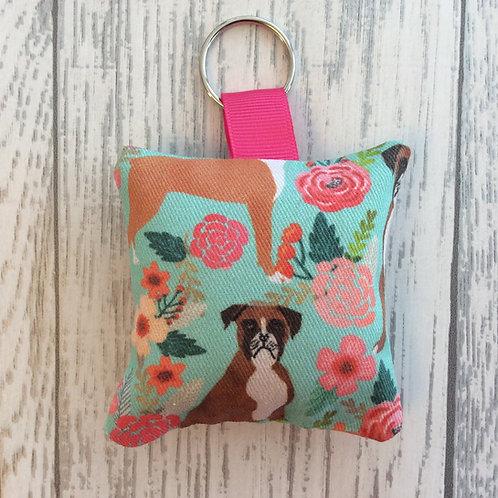 Boxer Dog Floral Print Keyring