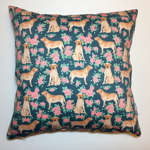 Yellow Labrador Floral Cushion Cover