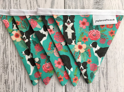 Border Collie Floral Bunting