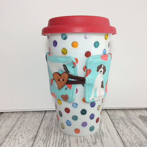 Blue Pointer Dog Print Cup Cozy