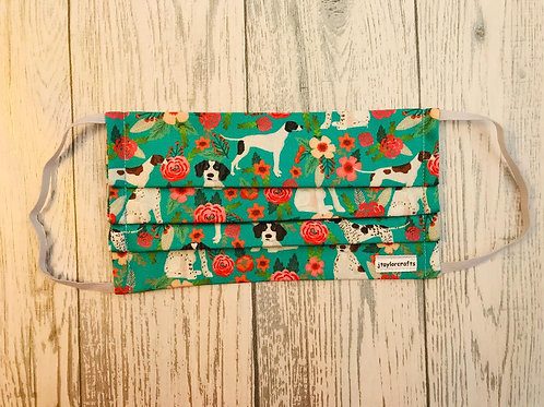 Floral Pointer Pleated Face Mask