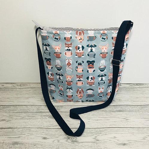 Grey Latte Dog Tote Shoulder Bag