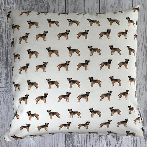 Border Terrier Cream Cushion Cover