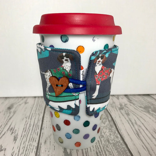 Surfing Pointer Dog Print Blue Cup Cozy