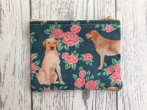 Yellow Labrador Floral Fabric Coin Purse
