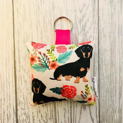 Dachshund Floral Dog Print Keyring
