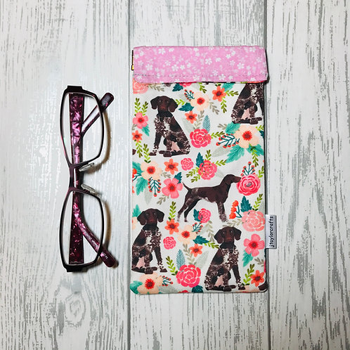 German Shorthaired Floral Pointer Glasses Case