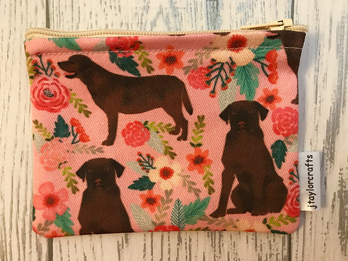Chocolate Labrador Pink Floral Fabric Coin Purse