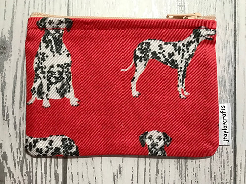 Red Dalmatian Dog Fabric Coin Purse