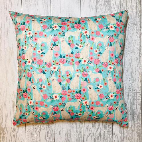 Golden Retriever Floral Cushion Cover