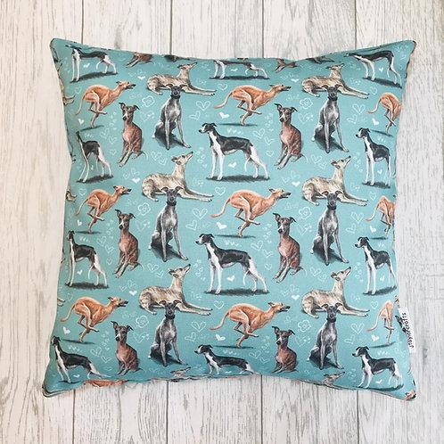 Whippet Dog Print Cushion Cover