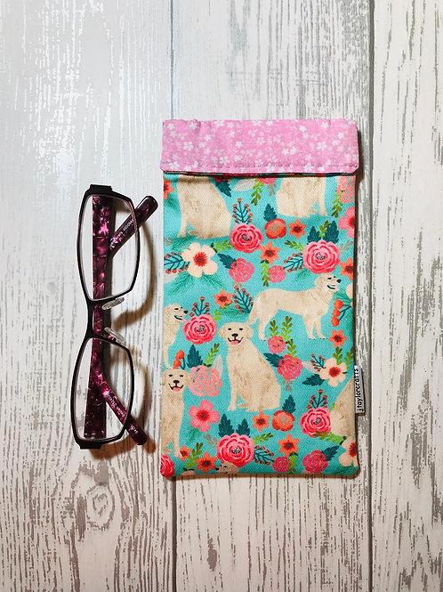 Floral Golden Retriever Glasses Case