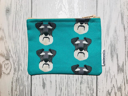 Schnauzer Green Fabric Coin Purse