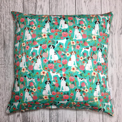 Pointer Dog Print Floral Cushion Cover