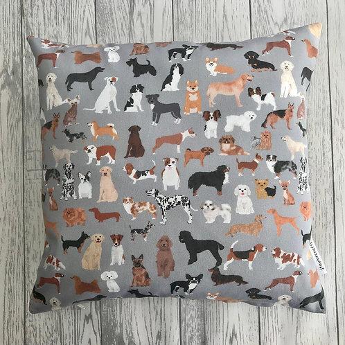 Grey Dog Print Cushion Cover