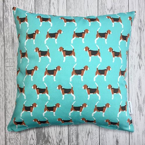 Beagle Turquoise Dog Print Cushion