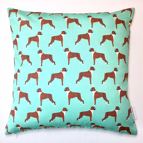 Green Boxer Dog Cushion Cover