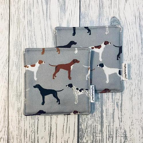 Grey Pointer Print Fabric Coasters - Set of 4