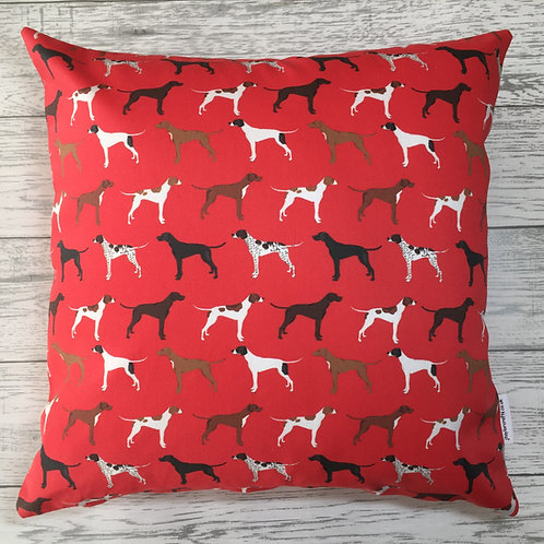Red Pointer Dog Print Cushion Cover