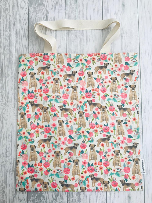 Border Terrier Floral Dog Print - Bag for Life