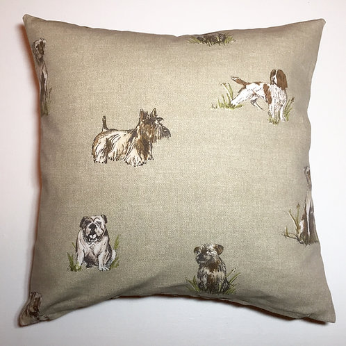 Dog Print Cushion Cover in Vintage Linen Colour