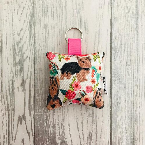 Yorkshire Terrier  Floral Keyring