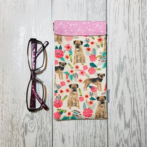 Border Terrier Floral Glasses Case