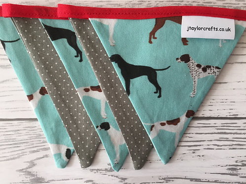 Turquoise and Grey Pointer Dog  Mini Bunting