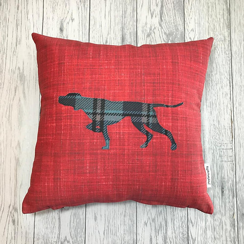 Red Pointer Silhouette Cushion Cover